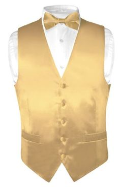 Biagio Men's Solid GOLD Color SILK Dress Vest Bow Tie Set for Suit or Tuxedo