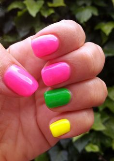 Colorful, bold, and vibrant nails! LOVE!