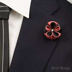 Lapel Pin/Coral/Luxe Kanzashi Flower Lapel Pin with Swarovski Crystal/Brooch/Lapel Flower/Mens Lapel Flower/Wedding Lapel by BoArtDesign on Etsy