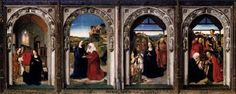 BOUTS, Dieric the Elder (b. ca. 1415, Haarlem, d. 1475, Leuven)  Click! Triptych of the Virgin  c. 1445 Oil on wood, 80 x 224 cm Museo del Prado, Madrid  The earliest works to have been attributed to Bouts are the three panels of the Triptych of the Virgin, in the Prado in Madrid, and various versions of the Virgin and Child. These paintings are very close in style to Rogier Van der Weyden, sometimes so close as to be virtually undistinguishable. The Prado panels set the main composition…