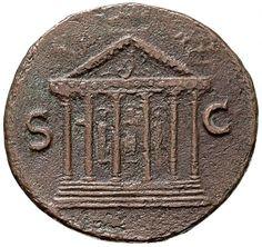 Asse - bronzo - Lione, Gallia (Francia) (77-78 d.C. Vespasiano) - fronte di tempio esastilo su podio a 5 gradini - Münzkabinett Berlin