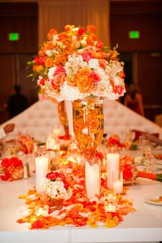 1000 images about the orange table on pinterest orange for Orange centerpieces for tables