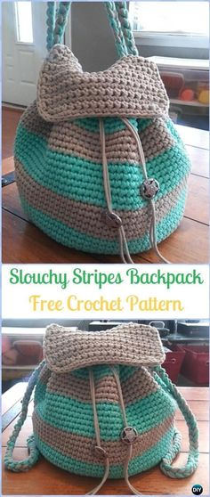 Crochet Slouchy Stripes Backpack Free Pattern -Crochet Backpack Free Patterns Adult Version #CrochetPatterns