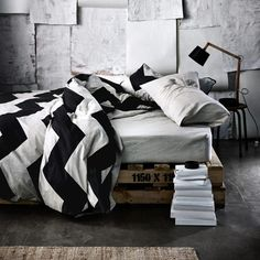 In love with this quilt cover From Aura Linen Chevron Grande Black Single bed quilt cover