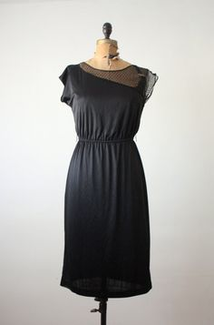 vintage 1970's black lace dress.