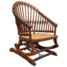 1880s George Hunzinger Victorian Platform Lollipop Rocker or Rocking Chair | From a unique collection of antique and modern rocking chairs at https://www.1stdibs.com/furniture/seating/rocking-chairs/