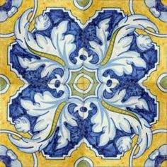 2314 Portuguese handmade majolica tile -- beautiful in a kitchen