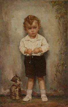 A Boy With A Whistle and toy Cat-Vincenc Zivny (1899 – 1983, Czech)