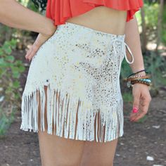 Fringed Shorts Genuine Leather, Light grey with Metallic Gold Spots Hand Cut Fringe and Leather Lace up front