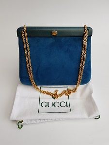 fcb52d7aac3 GUCCI Bag. Gucci Vintage Dark Turquoise Leather Structured Shoulder Bag  with Chain. Italian designer purse