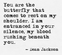 You are the butterfly that comes to rest on my shoulder.  I am entranced in your silence, my blood rushing beneath you.