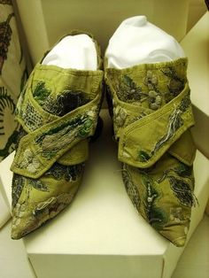 Yellow silk shoes c.1700-1750, Pickford House Georgian Museum, Derby, England