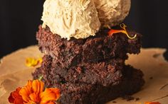 <p>These delicious brownies are packed with protein and flavor; plus they have the rich, fudgy constancy of any good brownie. Plus, they are served with a simple homemade ice cream that provides the perfect, delicate contrast to these decadent chocolate treats.</p>