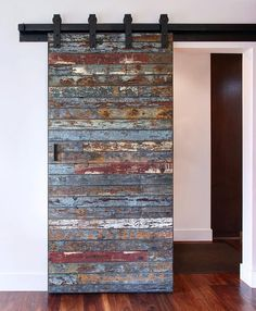 Not your ordinary barn door: Salvaged marine wood from a 40 year old bait barge which was destroyed by a swell in the Pacific Ocean from the 2011 Tsunami that hit Japan. We were lucky to get the remaining pieces to create this one of a kind sliding door! Diy Interior, Interior Barn Doors, Interior Design, French Interior, Scandinavian Interior, Modern Interior, Interior Decorating, Wooden Sliding Doors, Wood Doors