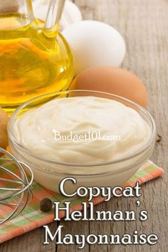 """COPYCAT HELLMAN""""S MAYONNAISE: You'll Need: 1 egg (room temp) 1 t. dry mustard 1 t. salt  1/4 c. veg oil. dash cayenne pepper  1 c. veg oil. 3 T. Vinegar     Place First 5 ingredients in blender on low speed.   While the machine is blending, SLOWLY pour in another 1/2 c. oil. Add the vinegar and the remaining oil. Blend until firm. Store in refrigerator."""