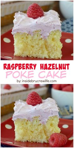 This vanilla hazelnut poke cake topped with a marshmallow raspberry topping is a cool and refreshing dessert. Perfect of those hot summer months!