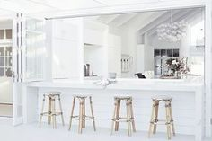 Home Decoration Inspiration Product The Design Files, Küchen Design, House Design, Three Birds Renovations, Outside Living, Outdoor Living, Indoor Outdoor, Outdoor Stools, Beach Shack