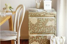How To:  Wallpaper a Filing Cabinet  (heavy wrapping paper)