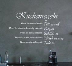 Wandtattoo-Kuechenregeln-Spruch-fuer-Wohnzimmer-Flur-Kueche-Dekoration