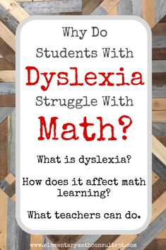 """ I'm worried. Are our dyslexic students struggling in math because they are being taught through memorized procedures, rote memorization of facts, and without connecting math strategies to conceptual frameworks? Dyslexia Teaching, Teaching Math, Math Dyslexia, Dyslexia Quotes, Dyslexia Activities, Math Resources, Teaching Tips, Dyslexia Strategies, Conceptual Framework"