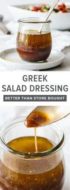This Greek salad dressing is fresh, flavorful, easy to make and tastes better than anything you can buy in the store. This Greek salad dressing is fresh, flavorful, easy to make and tastes better than anything you can buy in the store. Mediterranean Salad Dressing, Keto Salad Dressing, Mediterranean Recipes, Greek Salad Dressing Recipe Healthy, Greek Salad Recipes, Paleo Dessert, Soup And Salad, Cooking Recipes, Cooking Ribs