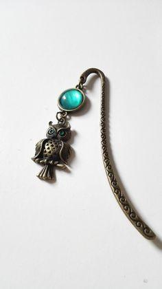 e67763b5f560 Marque page hiboux vert bronze vintage inspiration Harry P chouette  Poudlard Idée cadeau
