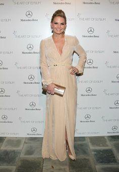 Jennifer Morrison wore a nude velvet Elisabetta Franchi dress at the Art of Elysium's 7th annual Heaven Gala   Trend 911