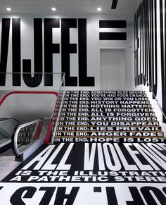 Staircase by Barbara Kruger at Stedelijk Museum Amsterdam Inside Out Project, Monospace, Nightclub Design, Barbara Kruger, Free Standing Wall, Window Display Retail, Exhibition Space, Retail Design, Play Houses