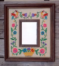 #Vintage #FolkArt #Crewel #Embroidery Wood Frame Mirror Colorful  #sameKVintage