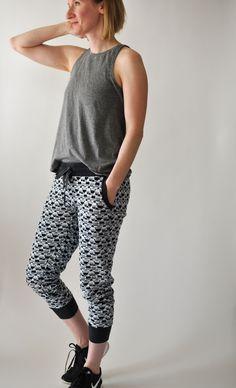 True Bias Hudson Pants in Black + White Graphic Print — Baste + Gather