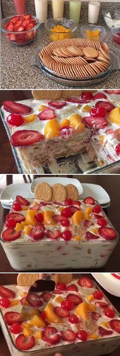 Postre de galletas con fruta