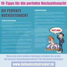 10 Tipps für die perfekte Hochzeitsnacht. Diese uns viele weitere kostenlosen Vorlagen gibt es bei www.diehochzeitsdrucker.de