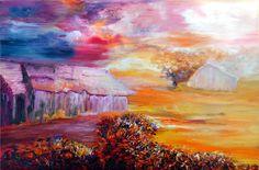 Artwork >> Bernadette Malecki >> The barn  #artwork, #masterpiece, #color, #bright, #painting, #nature