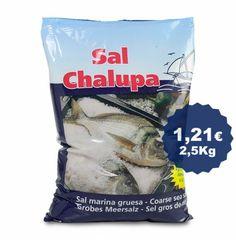 Sal para hornear carnes y pescados en sacos de 2,5 kg.