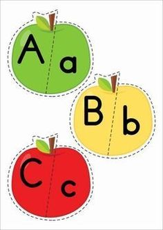 FREE Back to School Alphabet Center: Upper and Lower case apple match. A fun activity for Preschool and Kindergarten.