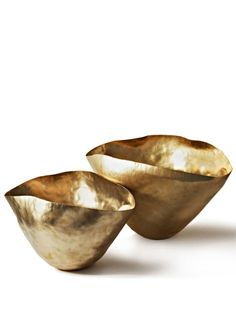 Golden small, hammered bowls