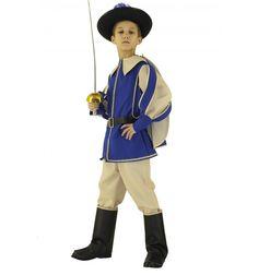 DEGUISEMENT PRINCE LUXE déguisement prince luxe en tissus bleu et beige, chapeau feutre, cape doublé, sur-botte, épée.  #lepanacheblanc