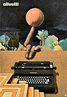 Pointing, by Typing the Way to the Moon in 1969. (Art: Olivetti 25 by Milton Glaser, 1969)