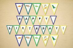 Dinosaur party pennant banner Printable birthday garland Printable Banner, Printables, Colour Book, Hipster Pattern, Birthday Garland, Pennant Banners, Halloween Trick Or Treat, Letter Size Paper, Dinosaur Party