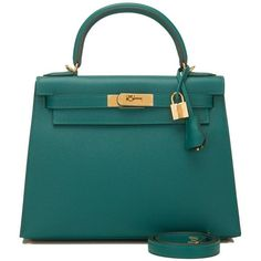 Hermes Malachite Epsom Sellier Kelly 28cm Gold Hardware ($20,000) ❤ liked on Polyvore featuring bags, handbags, hermes handbags, leather bags, kiss-lock handbags, locking purse and hermes purse