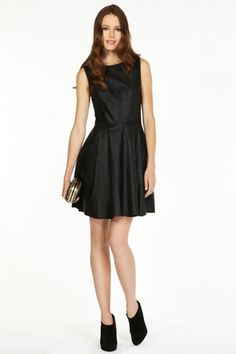 Oasis - Carly Faux leather Skater Dress