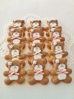Brown Teddy Bear Cookies - The Art of the Cookie Teddy Bear Cookies, Teddy Bear Party, Teddy Bear Birthday, Teddy Bear Baby Shower, Teddy Bears, Fancy Cookies, Cute Cookies, Cupcake Cookies, Snowman Cookies