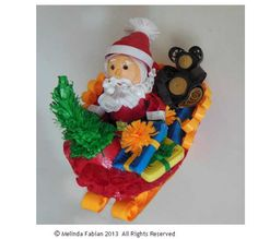 Quilled Christmas Ornament Santa & Sleigh with Santa and Teddy Bear Quilling Paper Sled Ornament