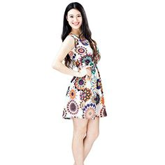 DressMorecome Women Summer Sleeveless Sunflower Print Beach Mini Dress S ** You can find out more details at the link of the image.