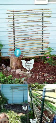 DIY T Post Trellis Using Branches and Zip Ties.