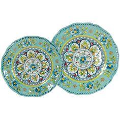 Authentic Le Cadeaux Madrid Turquoise - 16 Piece Dinner & Salad Plate Set, ,