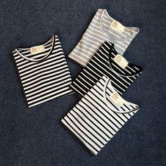 T-shirt women striped t shirt Summer 2017 cotton blend casual women top O collar long sleeve shirt korean tops Women's Clothing