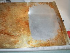 how to clean a cookie sheet - soap, hy. peroxide & baking soda