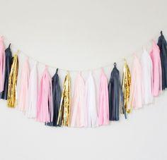 Pink, Blush, Gold and Navy Blue Tassel Garland- Party Decor, Birthday Party Decor, Preppy Dorm Decor, Nursery Decor, Banner, Pink Decor by BlushBazaar on Etsy https://www.etsy.com/listing/206661131/pink-blush-gold-and-navy-blue-tassel