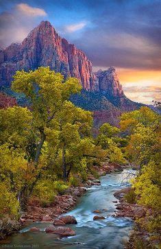Watchmen at Zion National Park Virgin River, Utah